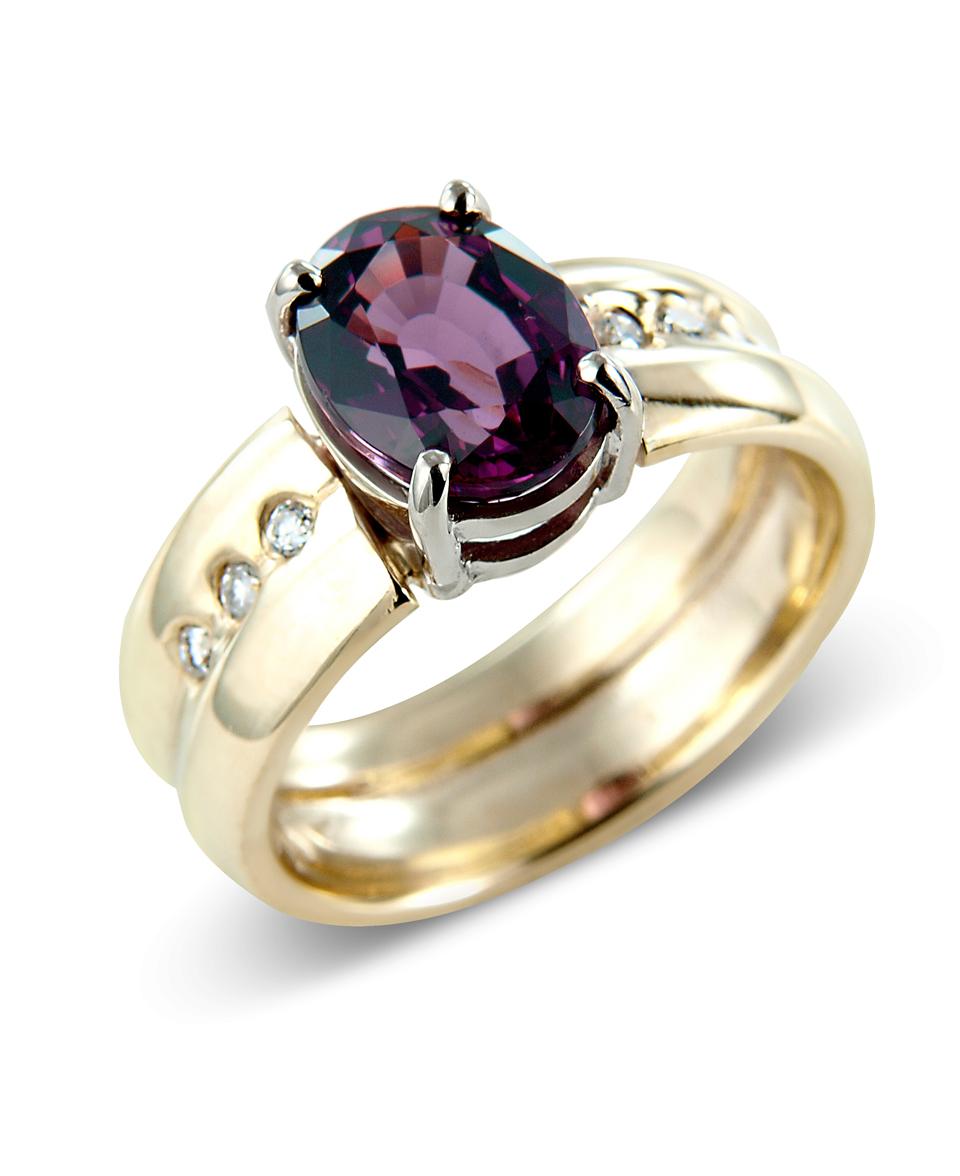 Gold Garnet and Diamond Ring