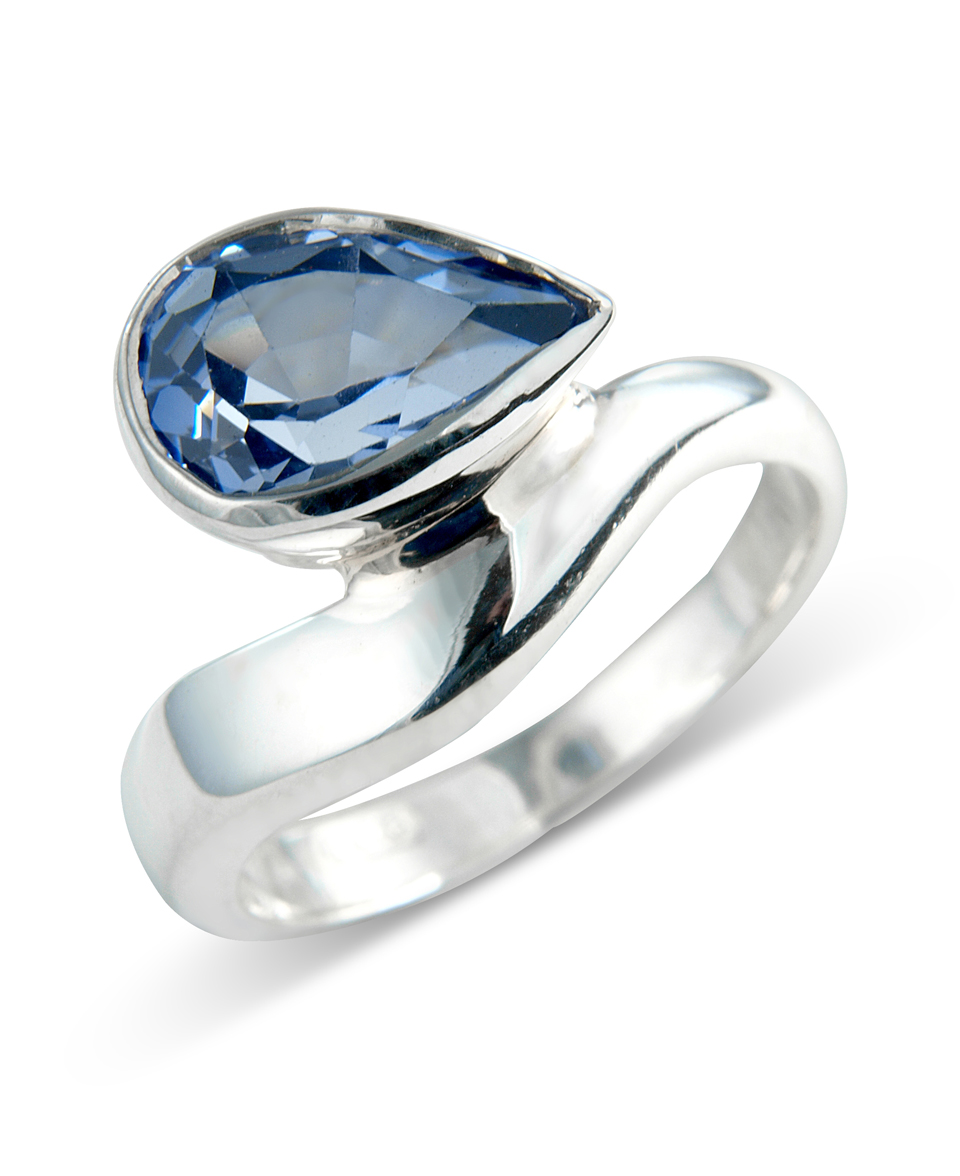 sapphire pear accents and a ruby containing set zirconia around shaped design wrap cubic with product ring