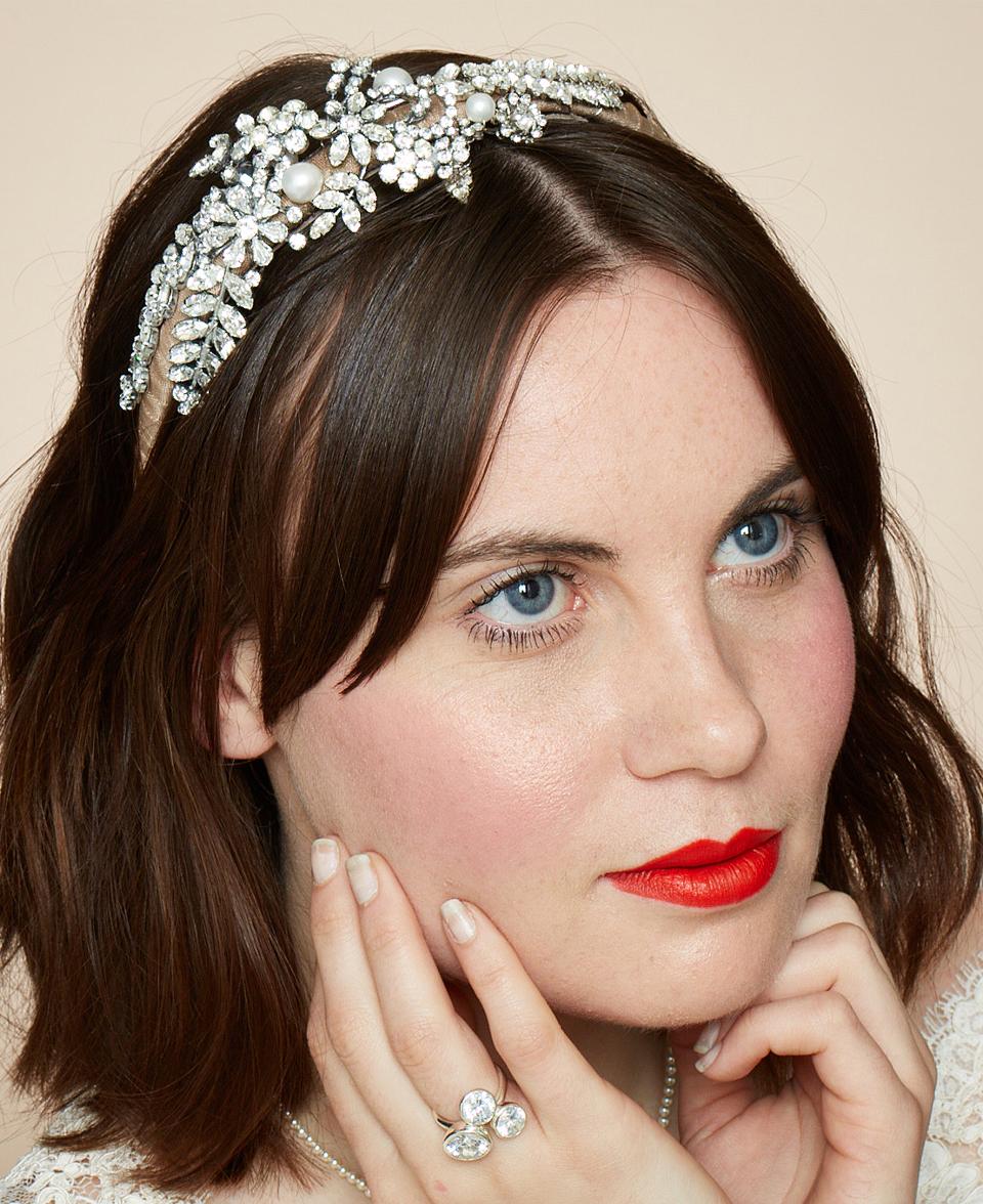 bridal headpiece vintage materials