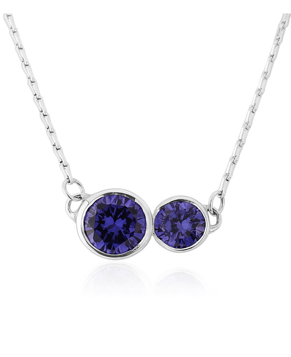 Sterling silver necklace set with Tanzanite cz