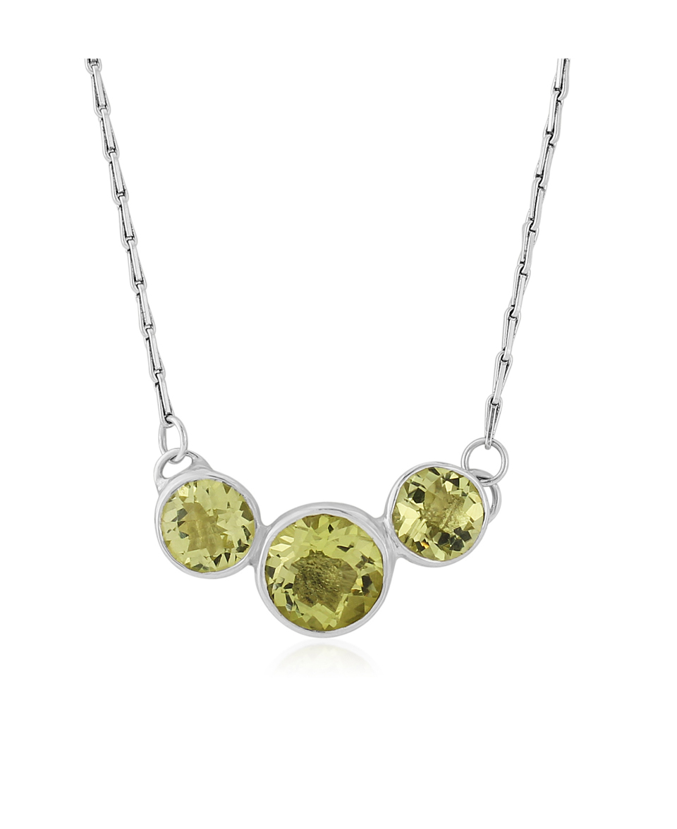 Sterling Silver necklace set with Lemon Quartz