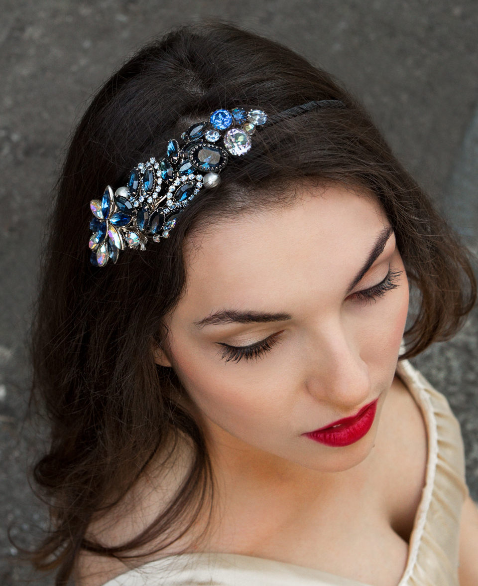 Blue crystal headpiece