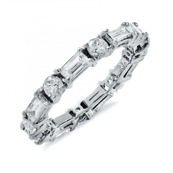 bespoke platinum bagette and brilliant diamond eternity ring