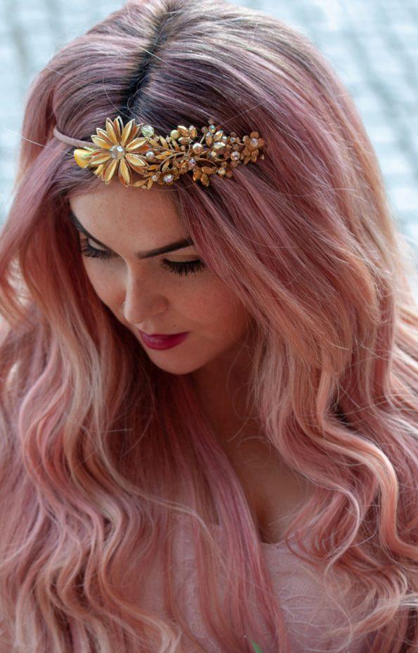 vintage gold flower headpiec
