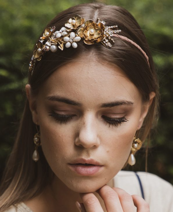 headband, vintage headband, vintage headpiece, wedding headband, gold headband, floral headband