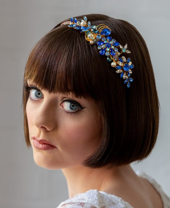 blue gold vintage crystal headband
