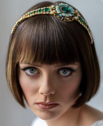 green headband, designer wedding hair accessory