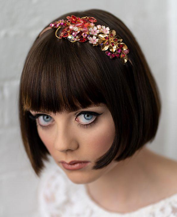 Pink Ruby flower headband