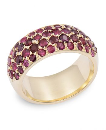 gold ring set with pave rubies