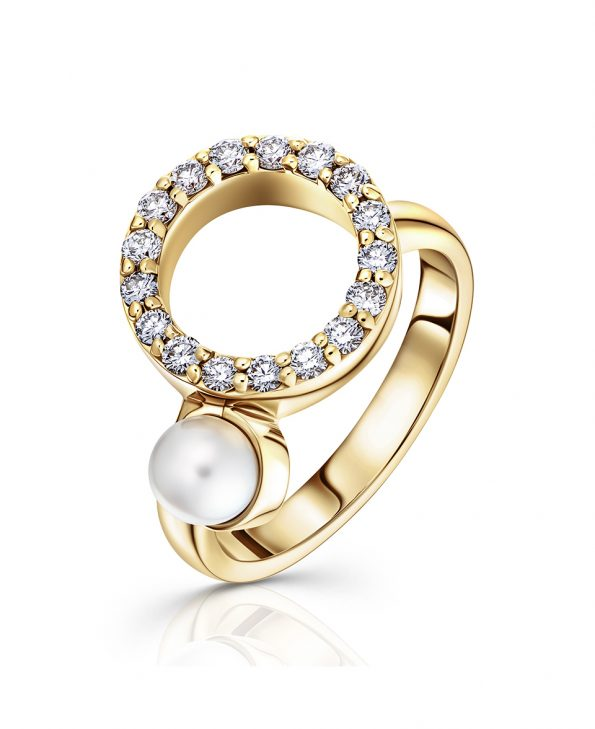 diamond pave and pearl ring set in 18ct yellow gold engagement wedding gift
