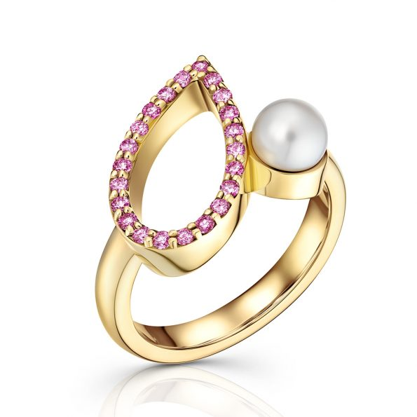 18 ct yellow gold ring teardrop shape of pave pink sapphires, offset with a white cultured pearl.