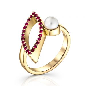 Pave ruby engagement ring set in 18ct yellow gold with Pearl
