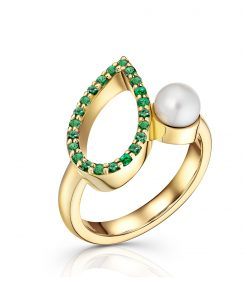 ava 18ct y pave emerald ring