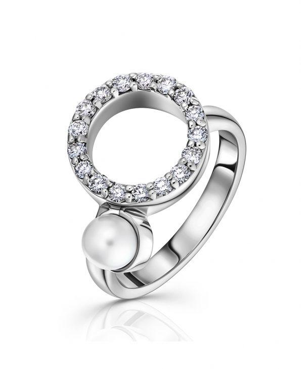 circle diamond 18ct w pearl